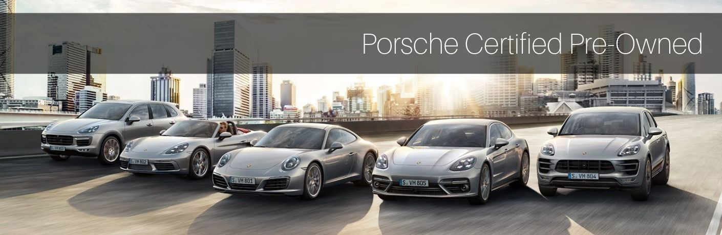 "row of Porsche vehicles driving down road with ""Porsche Certified Pre-Owned"" Text"