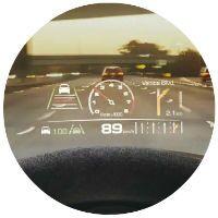 Head-up display in Porsche Panamera