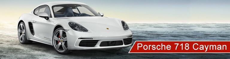white 2018 Porsche 718 Cayman with banner in bottom right corner