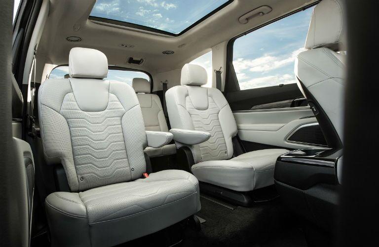 2020 Kia Telluride interior rear cabin low view of seats and sunroof