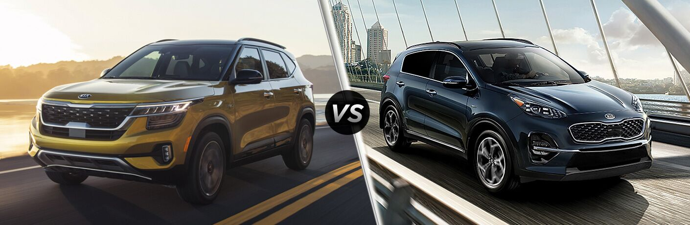 2021 Kia Seltos exterior front fascia driver side vs 2020 Kia Sportage exterior front fascia passenger side on city bridge