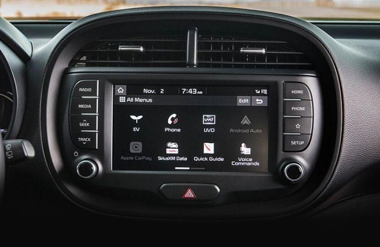 2021 Kia Soul EV interior front cabin dashboard touchscreen