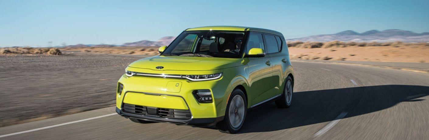2021 Kia Soul EV exterior front fascia driver side on road