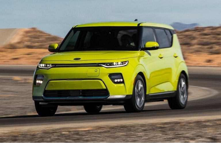 2021 Kia Soul exterior front fascia driver sid on blurred desert highway