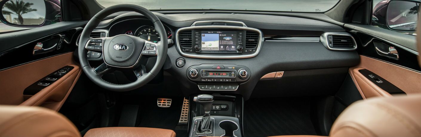 A photo of the front dashboard of the 2020 Kia Sorento.
