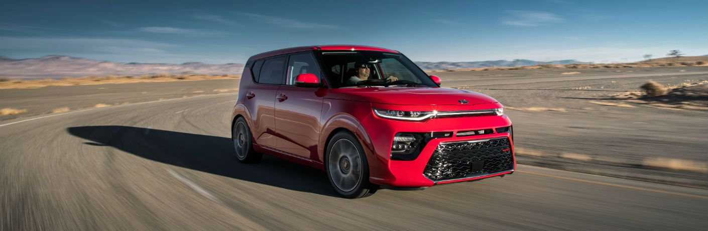 A front right quarter photo of the 2020 Kia Soul on a race track.