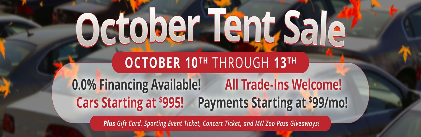 October tent sale text with details information