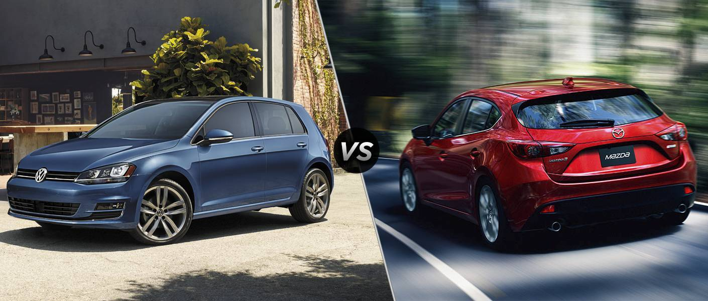Blue 2016 VW Golf and red 2016 Mazda 3 Hatchback exteriors