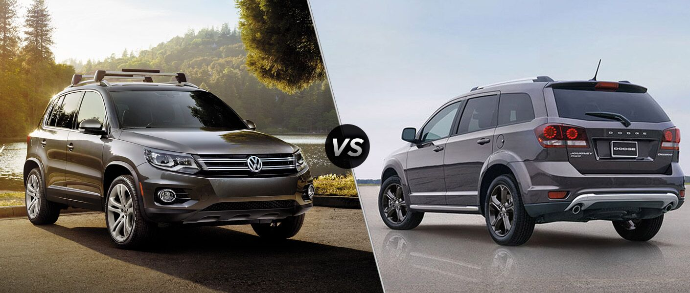 2016 Volkswagen Tiguan exterior front 2016 Dodge Journey exterior rear