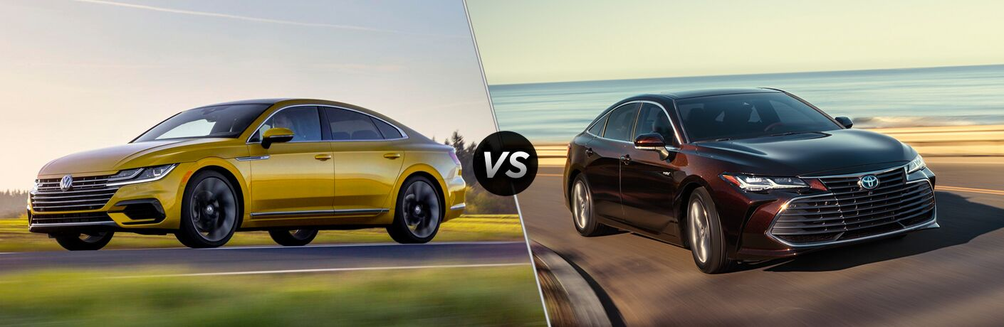 Yellow Volkswagen Arteon next to burgundy Toyota Avalon in comparison image