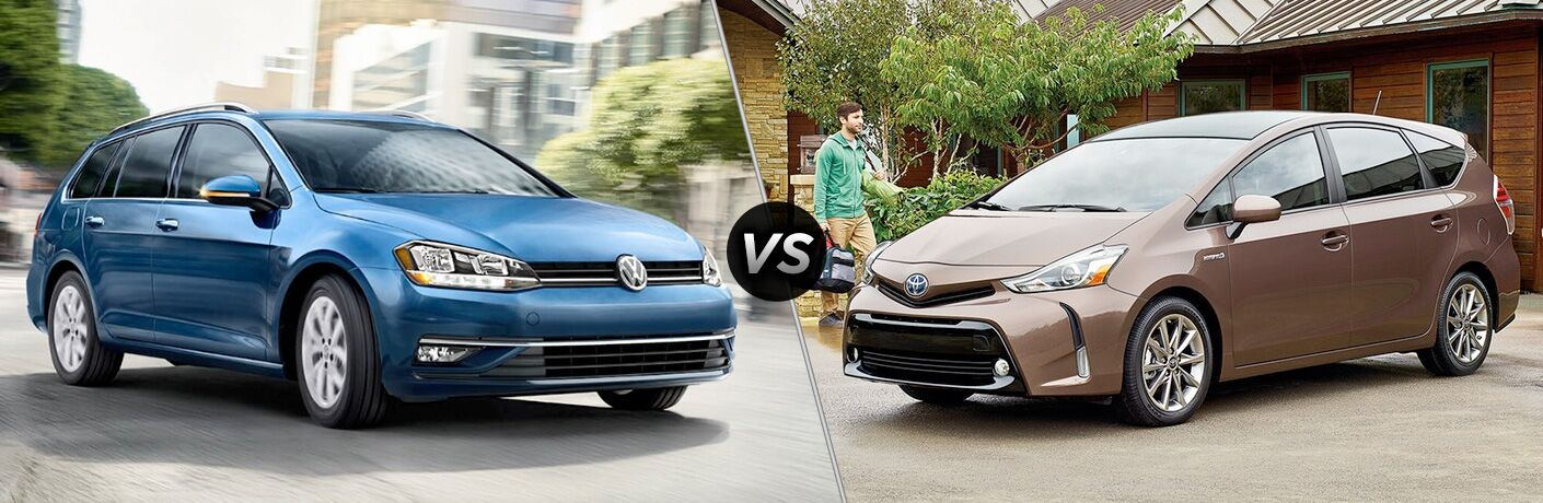 2018 Volkswagen Golf Sportwagen driving through a city vs 2017 Toyota Prius v parked in a driveway with a young man walking toward it