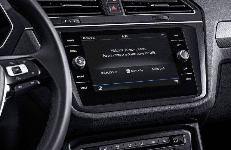 Infotainment system in the 2018 Volkswagen Tiguan with App Connect on the screen