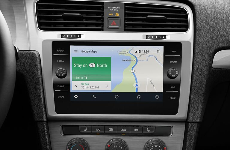 Navigation system on the infotainment screen of a VW Golf