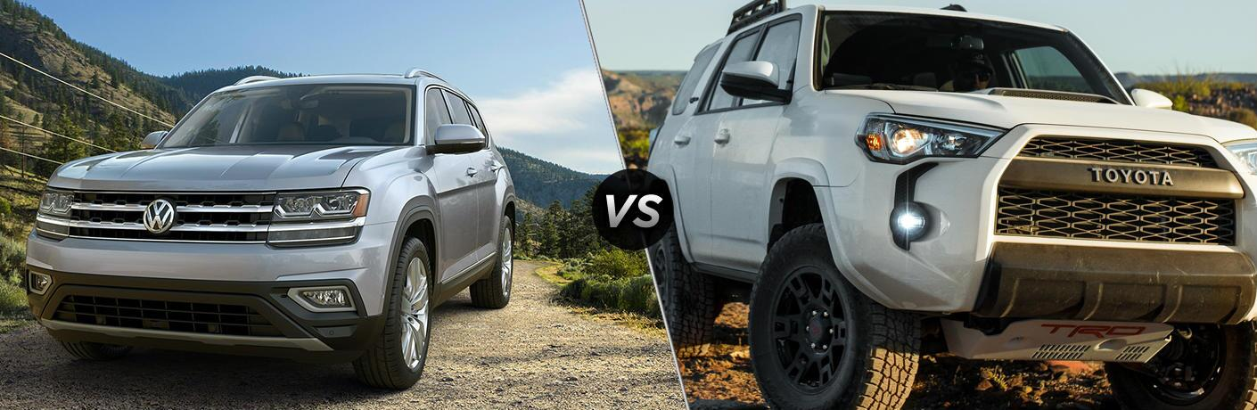 "Silver 2019 Volkswagen Atlas and white 2019 Toyota 4Runner, separated by a diagonal line and a ""VS"" logo."