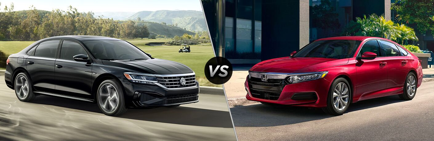 "2020 Volkswagen Passat and 2020 Honda Accord, separated by a diagonal line and a ""VS"" logo"