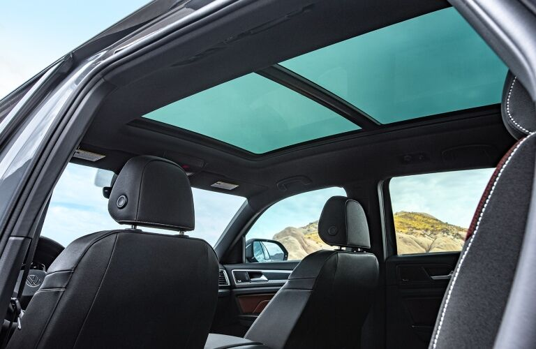 Interior long sunroof of a 2020 VW Atlas Cross Sport