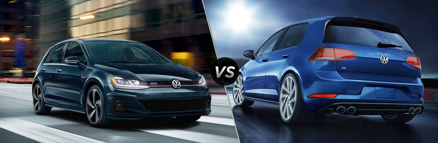 """2020 Volkswagen Golf GTI and 2019 Volkswagen Golf R, separated by a diagonal line and a """"VS"""" logo"""