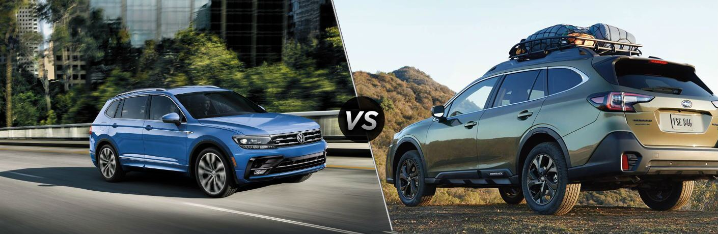 "Blue 2020 Tiguan drives up a highway, and greenish 2020 Subaru Outback, separated by a diagonal line and a ""VS"" logo."
