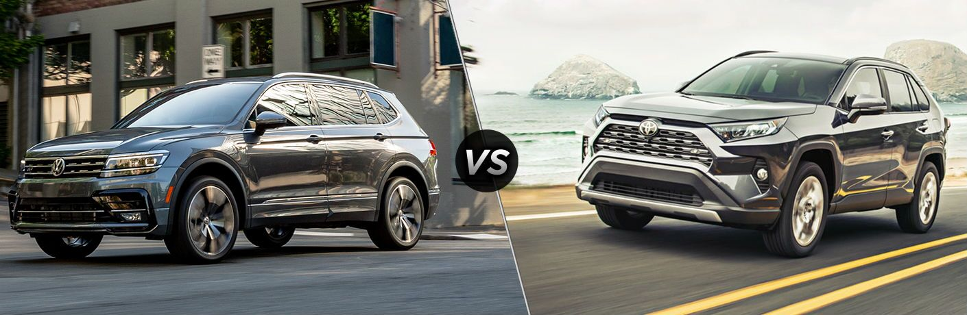 """Silver 2020 Volkswagen Tiguan and silver 2020 Toyota RAV4, separated by a diagonal line and a """"VS"""" logo."""