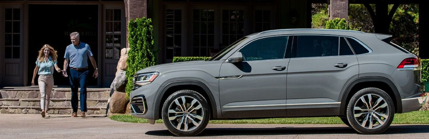 Side view of a gray 2020 Volkswagen Atlas Cross Sport.