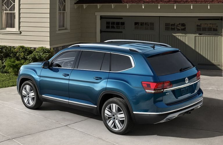 Blue 2020 VW Atlas from back driver side