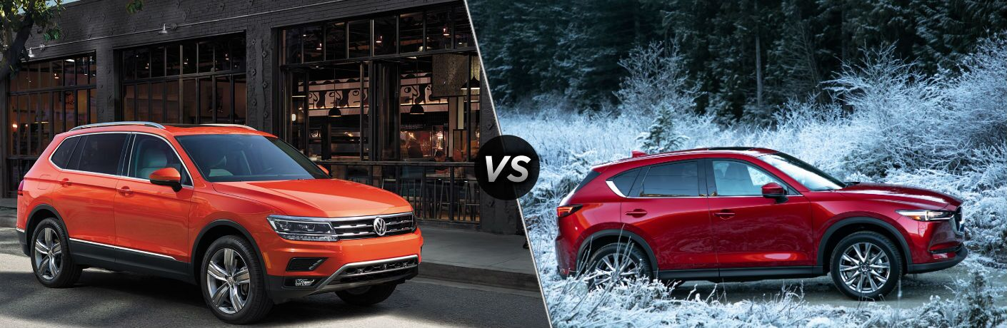 Comparison Image of Orange 2019 VW Tiguan left and red 2019 Mazda CX-5 right