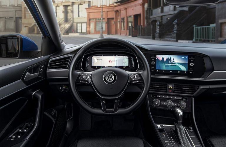 Digital Cockpit and entertainment screen in the 2019 Jetta SEL Premium