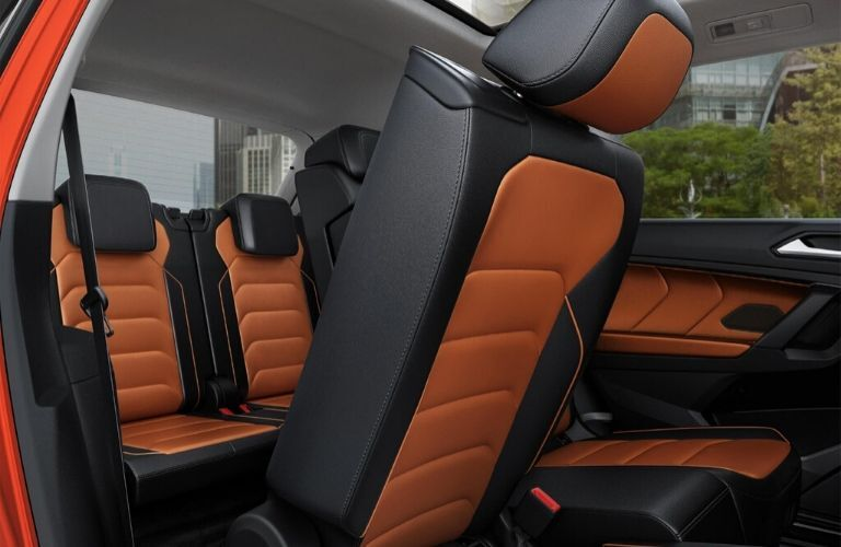 Interior of 2019 VW Tiguan showing 2nd and 3rd row seats