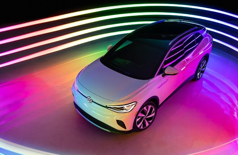 vw id4 in a futuristic room from above