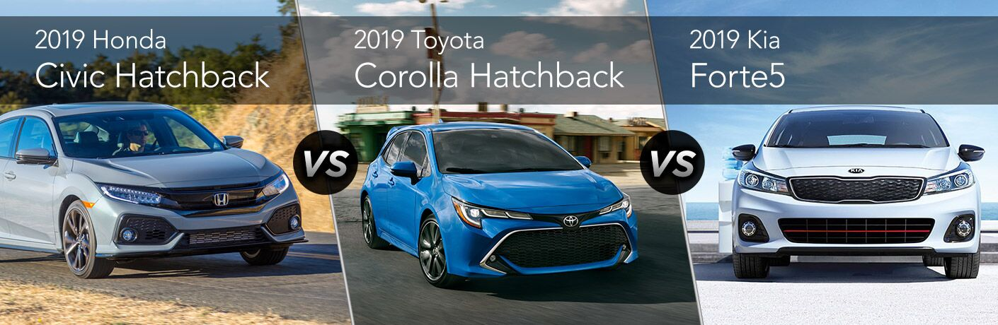 Comparison image of a gray 2019 Honda Civic Hatchback, a blue 2019 Toyota Corolla Hatchback and a silver 2019 Kia Forte5