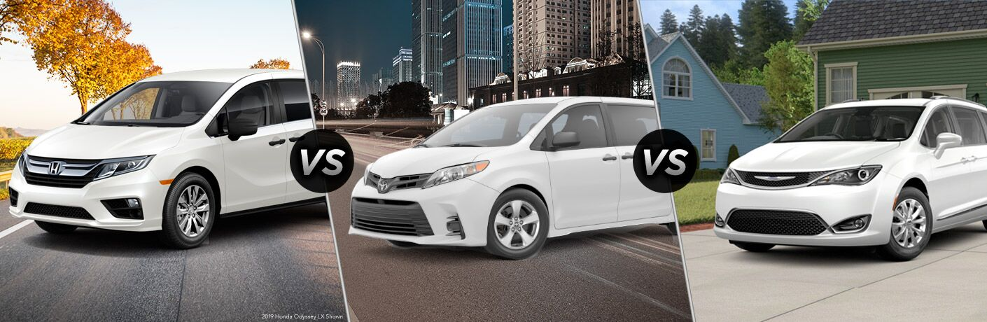 Comparison image of a white 2019 Honda Odyssey, a white 2019 Toyota Sienna and a white 2019 Chrysler Pacifica