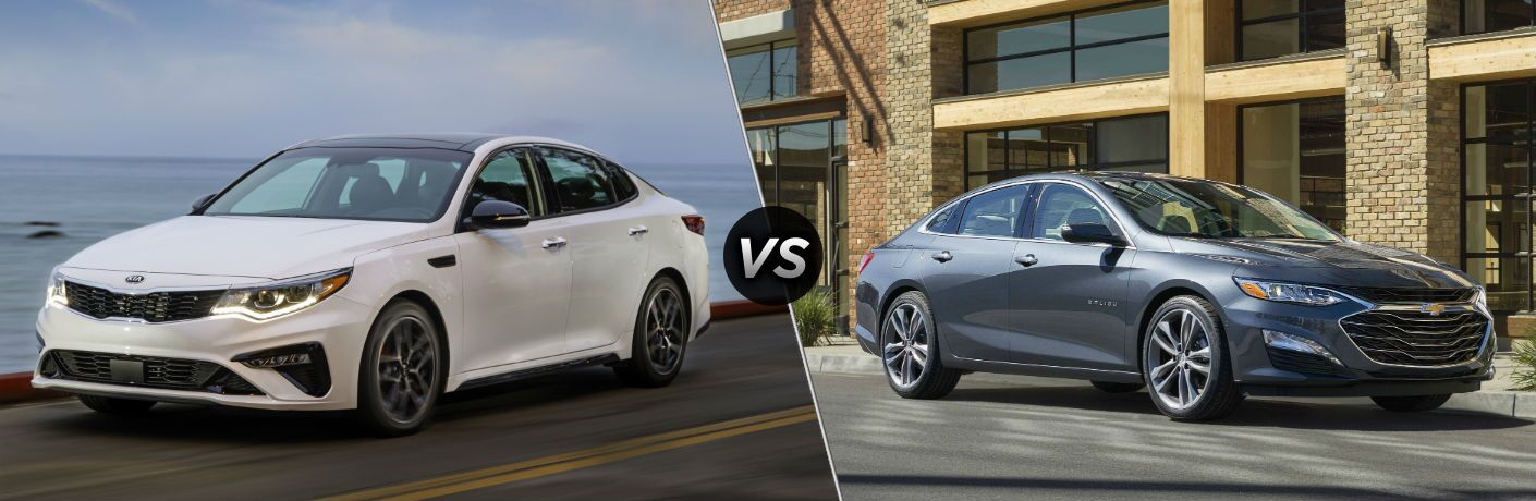 2019 Kia Optima Exterior Driver Side Front Profile vs 2019 Chevy Malibu Exterior Passenger Side Front Profile