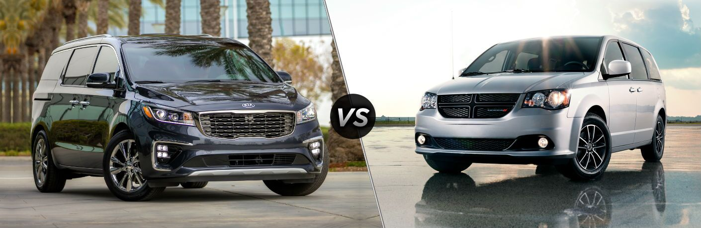 2019 Kia Sedona Exterior Passenger Side Front Angle vs 2019 Dodge Grand Caravan Exterior Driver Side Front Angle