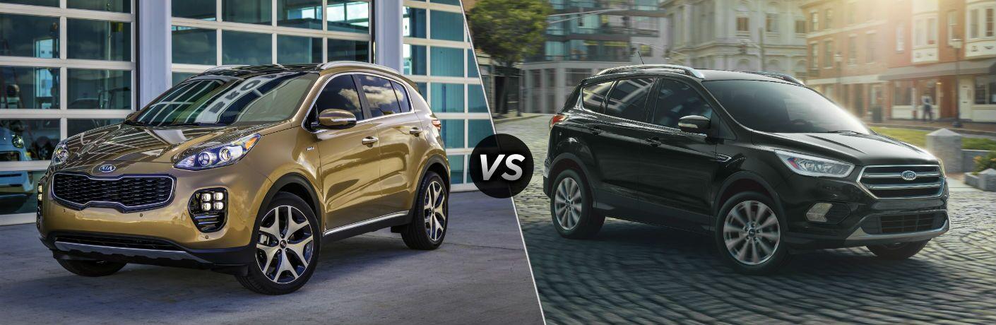 2019 Kia Sportage Exterior Driver Side Front Angle vs 2019 Ford Escape Exterior Passenger Side Front Profile