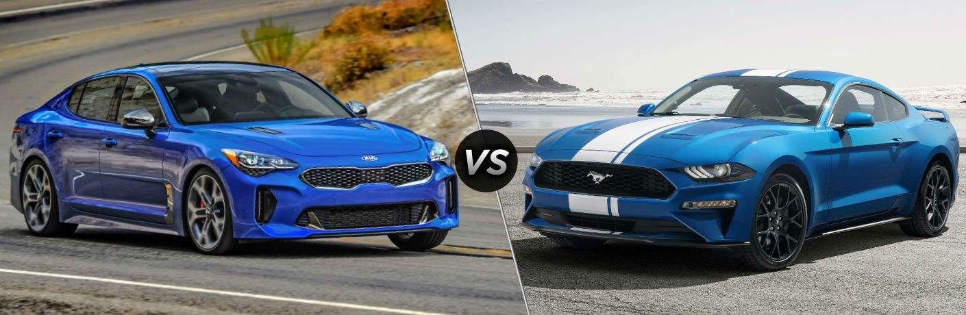 2019 Kia Stinger Exterior Passenger Side Front Profile vs 2019 Ford Mustang Exterior Driver Side Front Profile