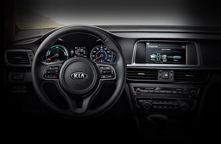 driver dash and infotainment system of a 2020 Kia Optima Hybrid