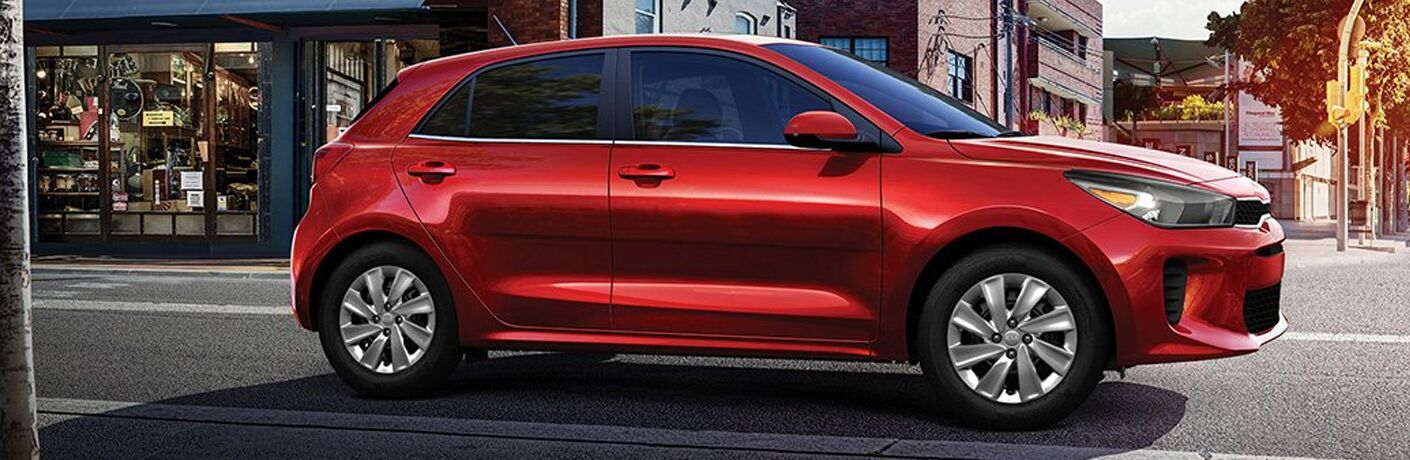 side view of a red 2020 Kia Rio 5-Door