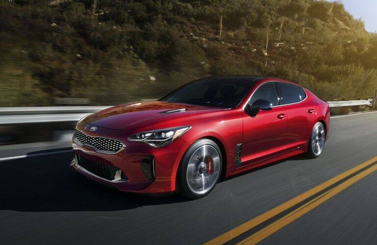 side view of a red 2020 Kia Stinger
