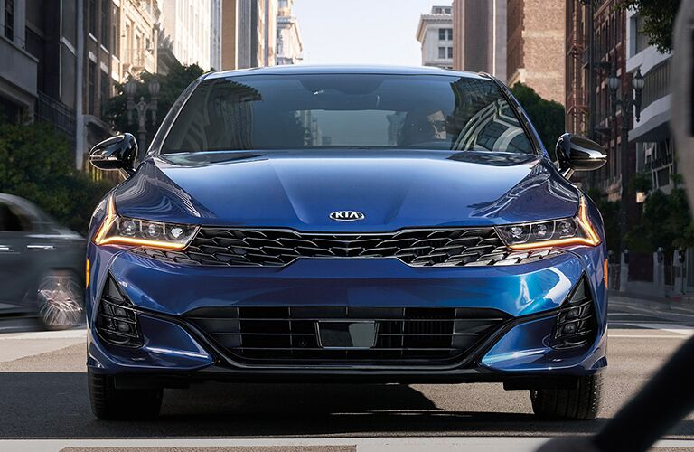 front view of a blue 2021 Kia K5