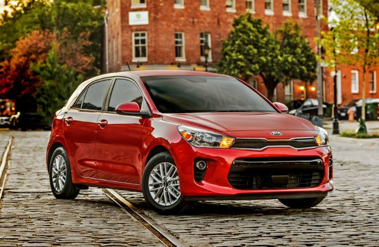 front view of a red 2021 Kia Rio 5-Door