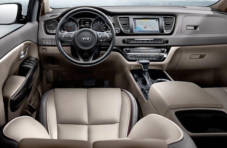 front interior of a 2021 Kia Sedona