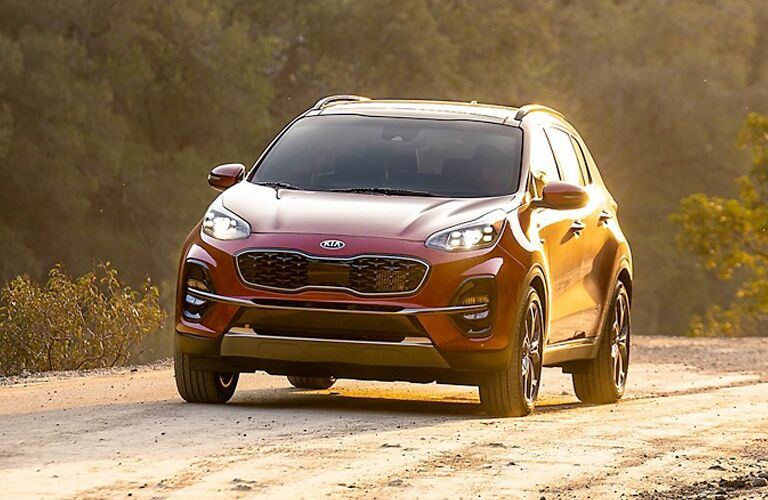 front view of a red 2021 Kia Sportage