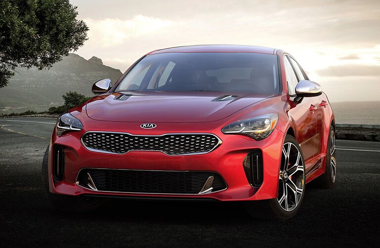 front view of a red 2021 Kia Stinger