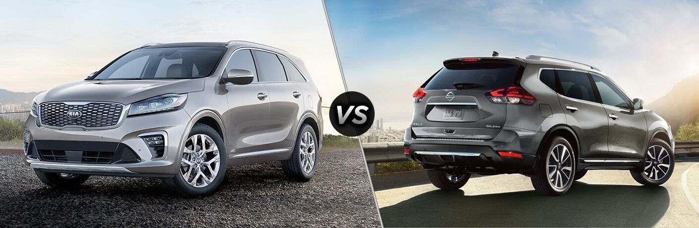 A side-by-side comparison of the 2019 Kia Sorento vs. 2019 Nissan Rogue.