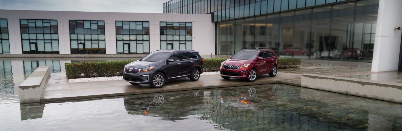 A photo of two models of the 2019 Kia Sorento parked in front of a reflecting pool.