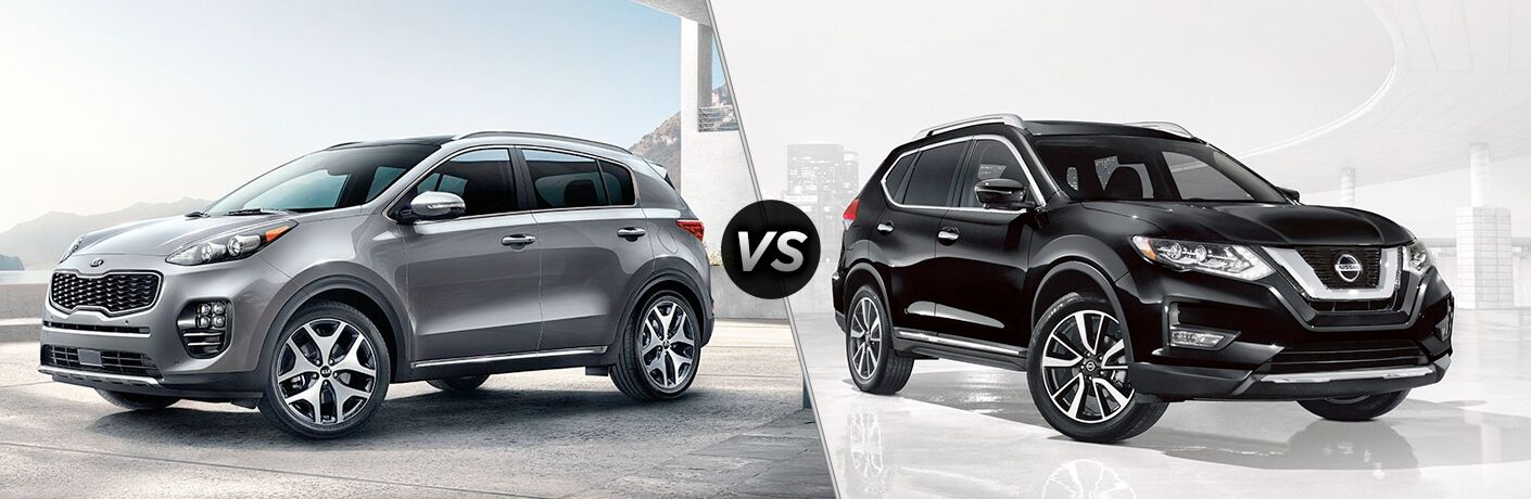 A side-by-side comparison of the 2019 Kia Sportage vs. 2019 Nissan Rogue.