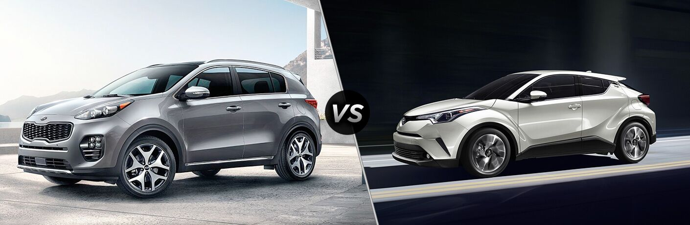 A side-by-side comparison of the 2019 Kia Sportage vs. 2019 Toyota C-HR.