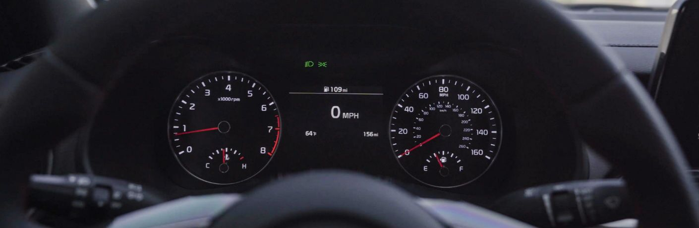 A photo of the center gauge cluster used in the 2020 Kia Forte GT.