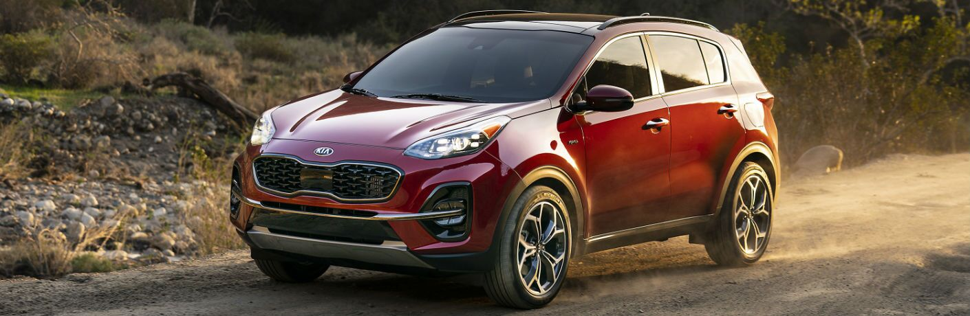 A close photo of the 2020 Kia Sportage parked on the side of the road.