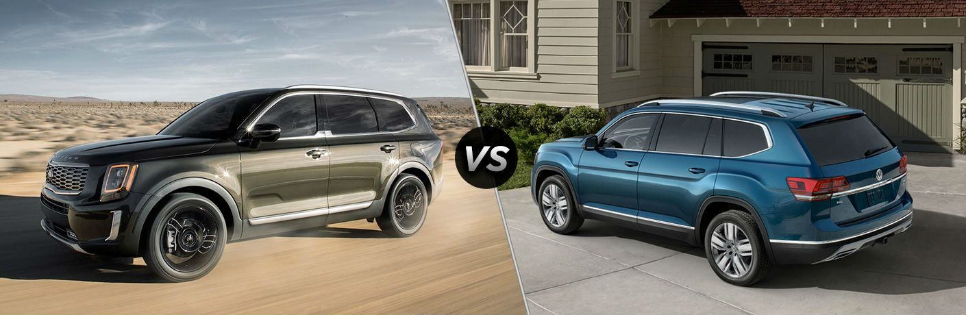 A side-by-side comparison of the 2020 Kia Telluride vs. 2019 Volkswagen Atlas.